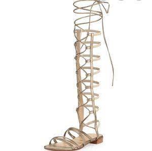 Stuart Weitzman Strappy Gladiator Sandals  Gold